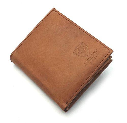 J. Wilson London Mens Bifold Coin Leather Wallet Tan