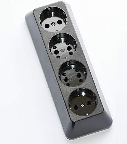 Opbouw, stopcontact, geaard contact, 4-voudige stekkerdoos, schuko-combi, bakeliet