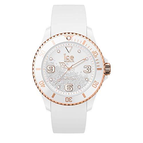 Ice-Watch - ICE crystal White rose-gold - Weiße Damenuhr mit Silikonarmband - 017248 (Medium)