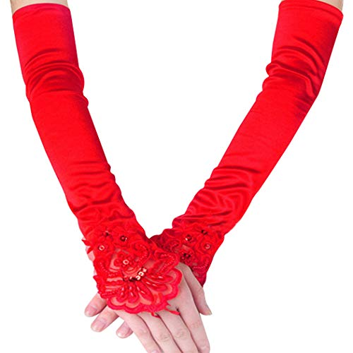 FORLADY Lange Fingerlose Abendhandschuhe Satin Elbow Handschuhe Braut Kostüm Handschuhe Spitze Schmuck Handschuhe