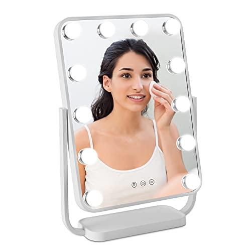 BONADE LED Schminkspiegel mit Beleuchtung Hollywood Tischspiegel mit Licht und Touchschalter Speicherfunktion, 3 Beleuchtungsmodi, 12 Dimmbaren Glühbirnen, 360 ° Drehbar Spiegel Beleuchtet Weiß