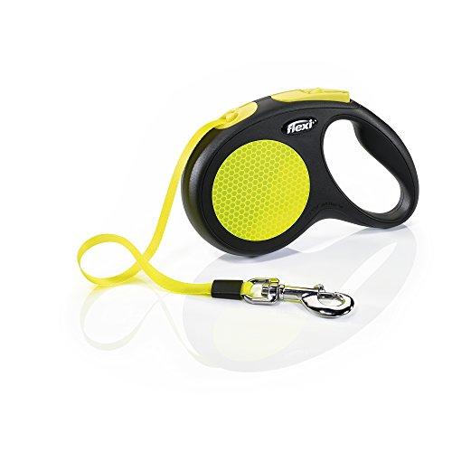 Flexi New Neon riem, M 5 m, zwart/neon geel