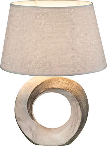 Nachttischlampe mit Stoffschirm Textil Grau Lampenschirm Dekolampe (Nachttischleuchte, Tischleuchte, Tischlampe, Höhe 41 cm, Keramik Fuß Grau)