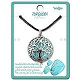 Collar de árbol de la Vida con Colgante Piedra Natural Energeticas - Distintas Piedras Semipreciosas (Turquesa)