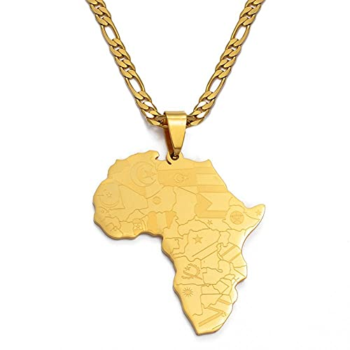 Mapa de África con banderas de países mapa collares pendientes para hombres mujeres color dorado mapas africanos joyería regalos-Longitud 60 cm Ancho 3 mm