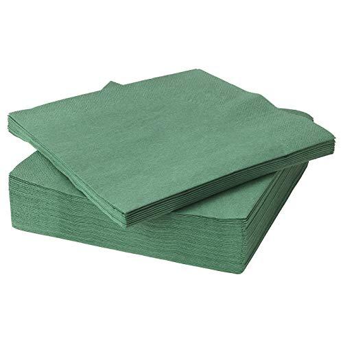 IKEA FANTASTISK, verde oscuro, servilletas de papel de 3 capas, 40 x 40 cm, juego de 150 (604.259.96)