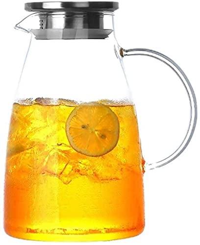 FHISD Tetera, Tetera, Taza, Jarra de Vidrio, Tapa, Tetera de Hielo, Resistente al Calor, la Seguridad es Muy Adecuada para té, café, Leche y café Helado, Taza de té
