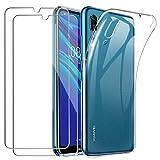 YOOWEI Coque Huawei Y6 2019 Transparente + [2 Pack Verre trempé écran Protecteur], Ultra Fin...