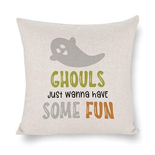 None Brand Ghouls Just Wanna Have Some Fun Funda de cojín, funda de almohada, lino rústico decorativo, almohada lumbar decorativa para silla, habitación, sofá, coche, decoración del hogar, regalo de inauguración de la casa, 45,7 x 45,7 cm