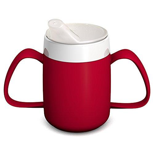 Ornamin 2-Henkel-Becher mit Trink-Trick 140 ml rot mit Schnabelaufsatz (Modell 815 + 806) / Spezial-Trinkhilfe, Tremor-Becher, Schnabelbecher
