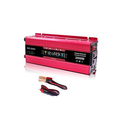 Wechselrichter, modifizierte Sinuswelle, 1000 W / 2000 W Spitze, DC 12 V auf AC 230 V, 240 V, mit Universal-Buchse und LCD-Display, Spannungswandler mit Zigarettenanzünder-Adapter
