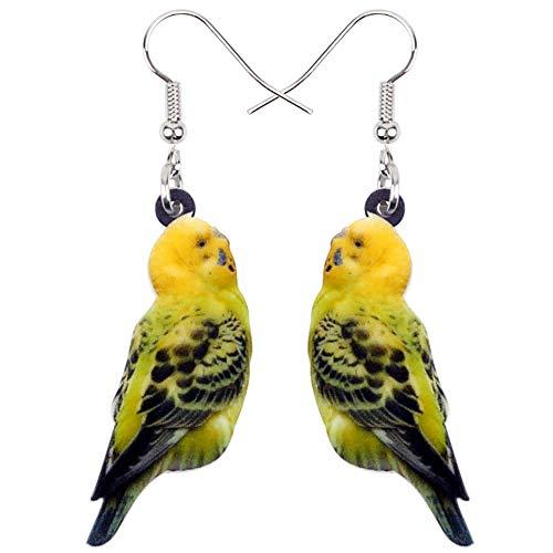 HBHBS Acryl Wellensittich Papagei Vogel Ohrringe Big Long Dangle Drop Neuheit Jungle Animal Schmuck für Frauen