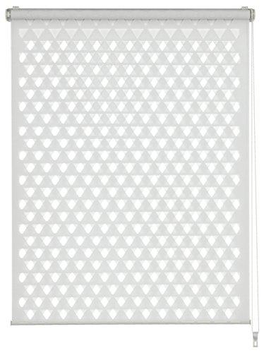 GARDINIA Doppelrollo zum Klemmen oder Kleben, Duo-Rollo/ Seitenzugrollo, Transparent und blickdicht, Alle Montage-Teile inklusive, Cut-Out Dreieck, Weiß, 60 x 150 cm (BxH)