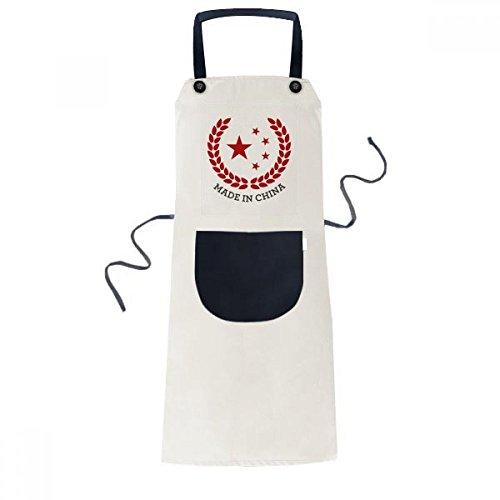 Gemaakt in China Stars Tarwe Rijst Rood Koken Keuken Beige Verstelbare Bib Schort Pocket Vrouwen Mannen Chef Gift