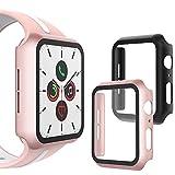 WD&CD Cover Compatibile per Apple Watch Series 6/se/5/4 44mm [2 Pezzi], HD Vetro Temperato Protettiva Schermo, Copertura di Protezione Schermo Intero Compatibile per iwatch 6/se/5/4, Nero+Oro Rosa