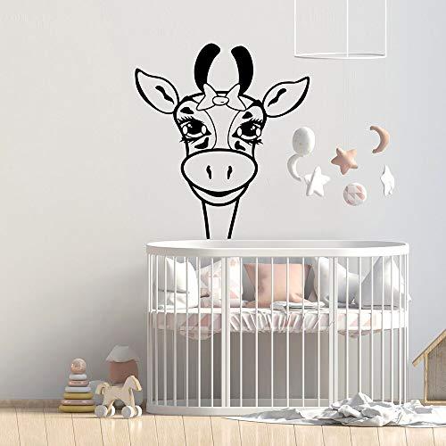 Pegatinas de pared Calcomanías artísticas de vinilo de pared de animales de sabana de guardería de jirafa para habitaciones de niños papel tapiz mural de decoración de habitación bonita 76x85cm
