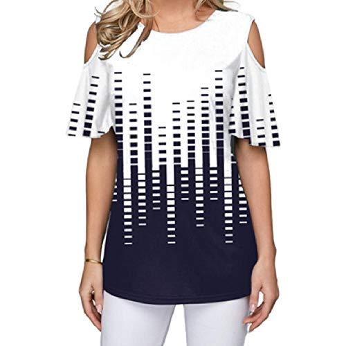 Camiseta Suelta de Verano para Mujer Casual de Manga Corta con Estampado de Hombro O-Cuello Camiseta VintageTalla S-5XL