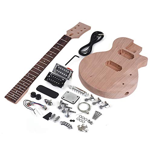 Guitar Body,Leeofty Children LP Style Unfinished DIY Electric Guitar Kit Mahogany Body & Neck Rosewood Fingerboard Double Dual-coil Pickups