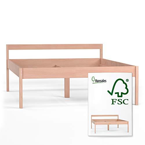 Hansales Seniorenbett 140x200 cm Holzbett 55 cm Hoch mit Rollrost Kopfteil - 350 kg Stabiles Doppelbett für Senioren - Unbehandeltes FSC zertifiziertes Birken Massivholz - Ehebett