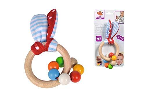 Eichhorn 100017030 - Baby Greifling mit Ohren, Hasenmotiv mit knisternen Plüschohren, 7 Perlen, FSC 100% Zertifiziertes Buchenholz