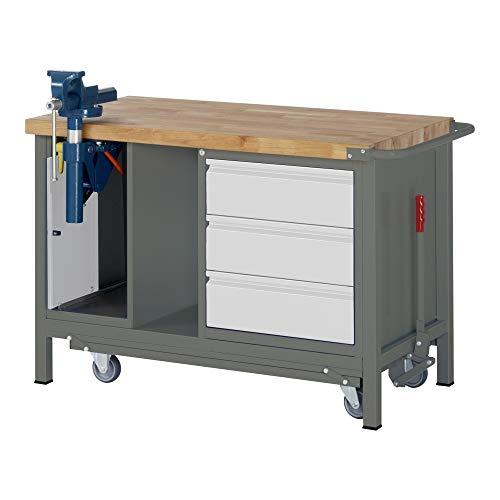 STIER Werkbank Premium, mit abs. Fahrgestell, 3 Schubladen und Schraubstock, BxTxH 1250x700x880mm,...