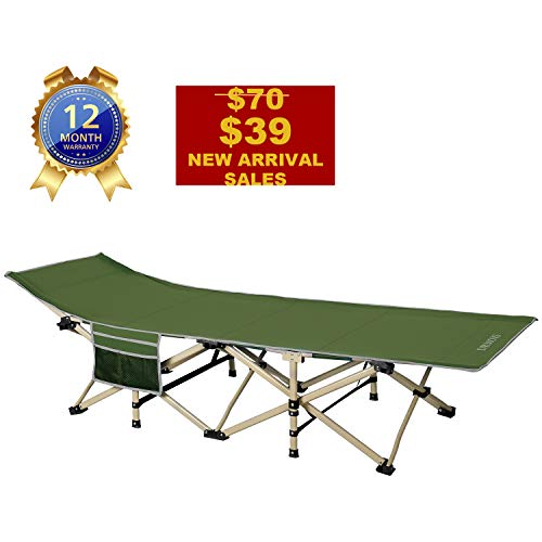 DRMOIS Camping cots, Oversized Portable Foldable Outdoor Bed for Adults Kids, Heavy Duty Cot for Traveling Gear Supplier, Office Nap, Beach Vocation and Home Lounging, Support 450 lbs (Army Green)