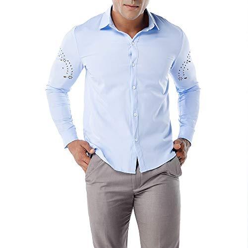 FRAUIT Hemd Herren Wunderschön Einfarbig Atmungsaktiv Herbst Männer Shirt Top Bluse T-Shirt Freizeit Business Party Stretch Atmungsaktiv Bequem Top 100{1a4601c0d776e7704200d9d9041aef909f23a8f1c0fbafa840638711ce5591bd} Baumwolle S-XXL