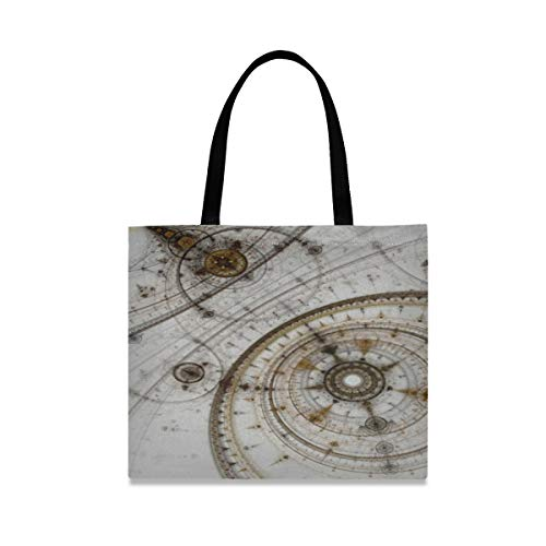 Canvas Tote Bag For Women Colorful Fractal Clockwork Abstract Gears Digital Reusable Casual Shoulder Bag Handbag Washable Craft Canvas Bag With Inner Pocket Perfect For Work Beach Lunch Travel