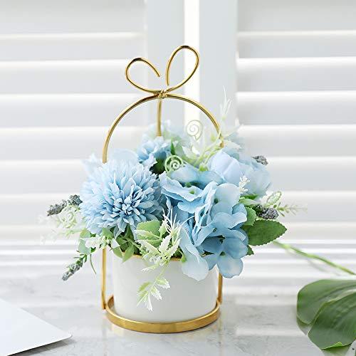Veryhome Künstliche Blumen Hortensie Chrysantheme Topf Gefälschte Blumen Hängen Topfpflanzen Für Zuhause Wohnzimmer Büro Party Dekoration ( Chrysantheme Topf-Blau )