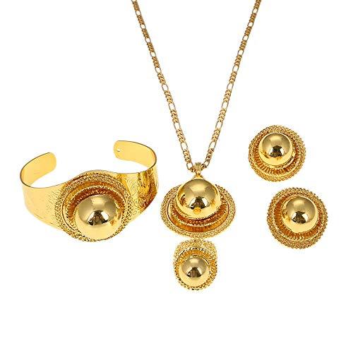 Conjuntos de joyas de boda para mujeres etíopes, collares, pulsera, pendientes, anillo, Color dorado, regalos de joyería Eritrea Habesha