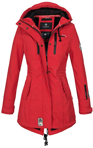 Marikoo Damen Winter Jacke Winterjacke Mantel Outdoor wasserabweisend Softshell B614 [B614-Zimt-Rot-Gr.L]