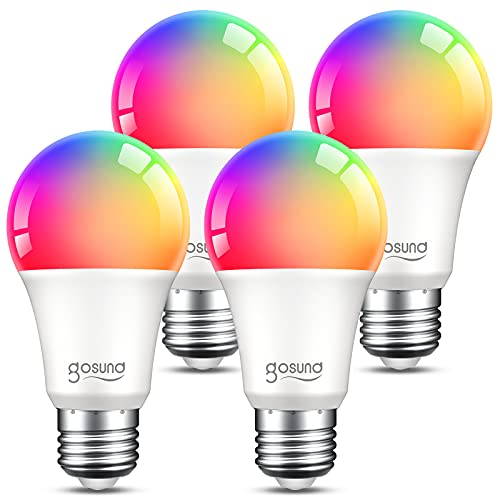 Smart Light Bulbs, Dimmable Color Changing Smart Bulb Works with Alexa and Google Home, RGB Multicolor and Warm White A19 E26 75W Equivalent LED Bulbs, 2.4Ghz WiFi Only, No Hub Required, 4 Pack