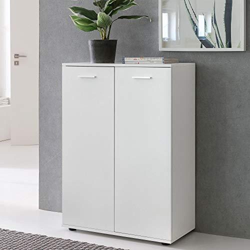 FineBuy Kommode Svea mit 2 Türen 71x104x35cm Mehrzweckschrank Holz Weiß | Flurschrank hell modern | Schrank klein | Anrichte Sideboard matt | Kommodenschrank Flurmöbel
