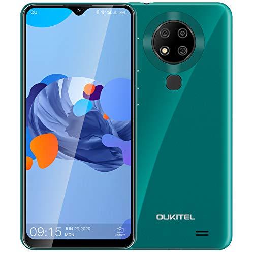 OUKITEL C19 PRO Android 10 4G SIMフリースマホ 4GB/64GB 1300万高画素 トリプルカメラ 6.49インチ 4000mAh 大容量バッテリー 顔認証 指紋認識 1 付き ドコモ/ソフトバンク/YmobileSIM対応 PSE認証&技適認証済み(绿)