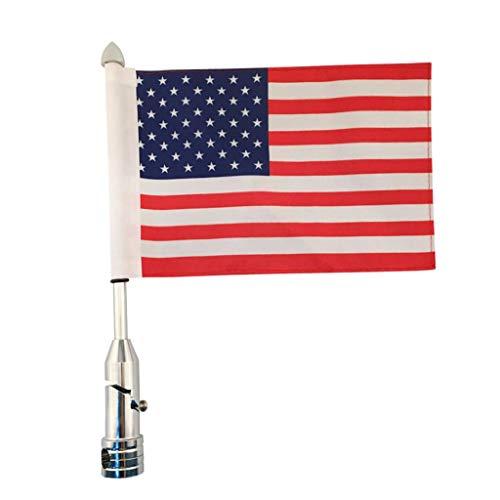 Gazechimp Aluminium Fahnenmast Fahnenstange mit American Fahne fit für Motorrad