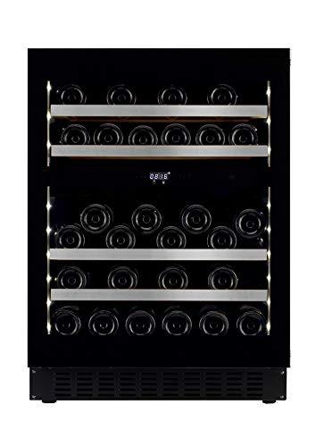 mQuvee Weinkühlschrank Unterbau/Einbau WineCave 60D Fullglass Black Push/Pull, Platz für bis zu 45 Flaschen, 2 Temperaturzonen 5-20°C, Breite 60 cm
