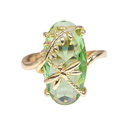 WoCoo Ring Natural Transparent Peridot Gemstone Rings Luxury Wedding Ring (Gold,10)