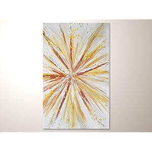 """Abstraktes Acrylbild hockant:""""Happy"""" Original Handgemalte Kunst mit Gold Kupfer Grau Weiß direkt vom Künstler. Moderne Leinwandbilder kaufen"""