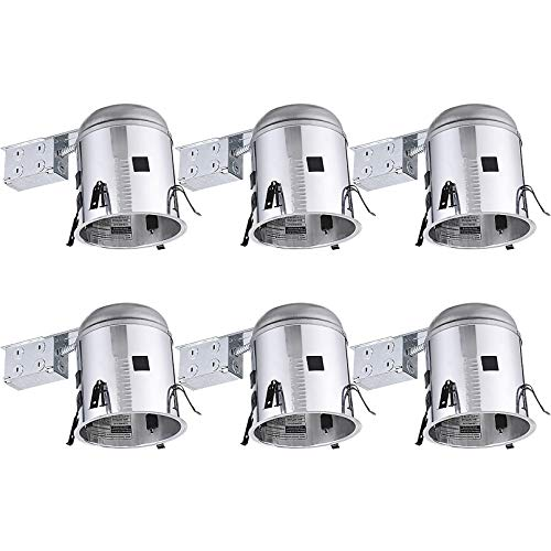 TORCHSTAR 6 Inch Remodel Recessed Light Housing, Air Tight IC Rated Aluminum Remodel LED Can, E26 Socket Included for Recessed Lighting, UL Listed, Pack of 6