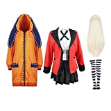 COZY LS Cosplay Traje Yomotsuki Runa 9pcs con Capucha Escuela Kakegurui Muchacha Bonita Trajes Uniforme JK del Sistema Completo con La Peluca De Halloween JK Women- XS