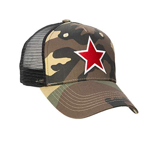 Chiccheria Brand Trucker Baseball Cap – Star – Einheitsgröße | Camouflage | Mesh | Größenregulierbarer Druckverschluss | Bekannt aus GQk (Rot)