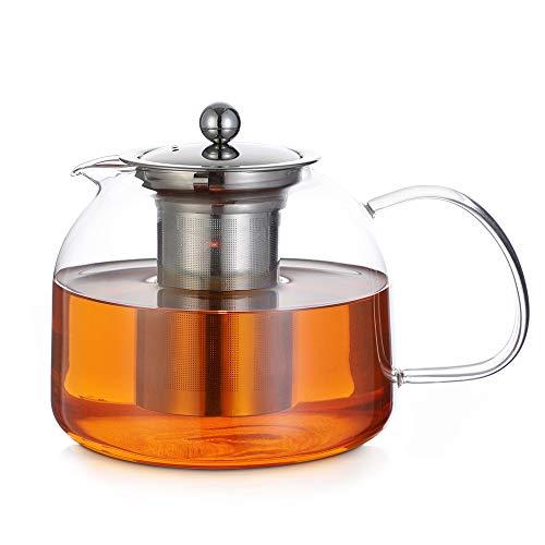 Monzana Teekanne Glas mit Siebeinsatz 1,5 L Teebereiter Glaskanne Edelstahl Sieb Spülmaschinengeeignet Hitzebeständig