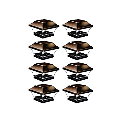 NOMA Solar Post Lights | Waterproof Outdoor Cap Lights for 4 x 4 Wooden or Vinyl Posts, Deck, Patio, Garden, Décor or Fence | Warm White LED Lights, 8-Pack