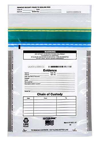 100pk Evidence Bags, 6″ x 9″ – Premium, Level 4 Security Tamper Evident Bags – Self Sealing, Transparent 2.5 Mil Coextruded Polyethylene – SECUR-PAK