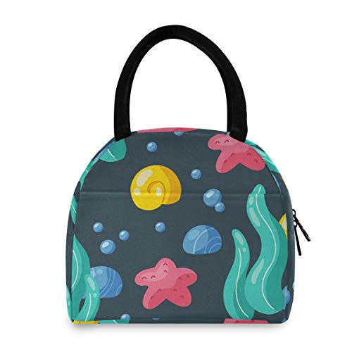 Insulated Lunch Bag Women - Underwater Ocean Seaweed Warm Lunch Box Washable Reusable Snack Lunch Tote Bag for Work/Picnic/School