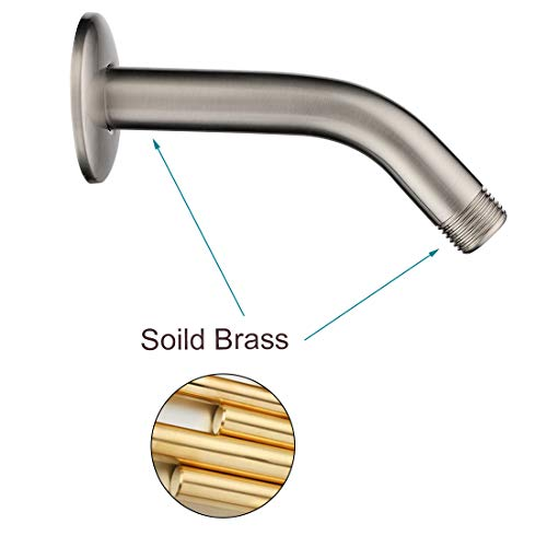 BRIGHT SHOWERS Shower Arm with Flange 6 Inch Brass Shower Pipe Arm Bathroom Rain Shower Arm Extension for Wall Mount, Brushed Nickel