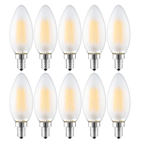 Confezione da 10 lampadine LED a candela E14, 4 W, a forma di candela, 300 lm, bianco caldo 2700 K, sostituisce 25 Watt, vetro opaco, non dimmerabile