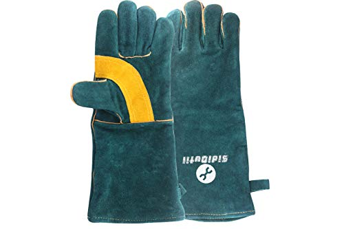 SidiOutil Welding Gloves 16 Inches Leather Forge Heat Fire Resistant BBQ Grill Oven Mitts Stove Pot Holder Cooking Fireplace Camping Oven Gloves for Furnace Stove Tig Welder Mig with Hook