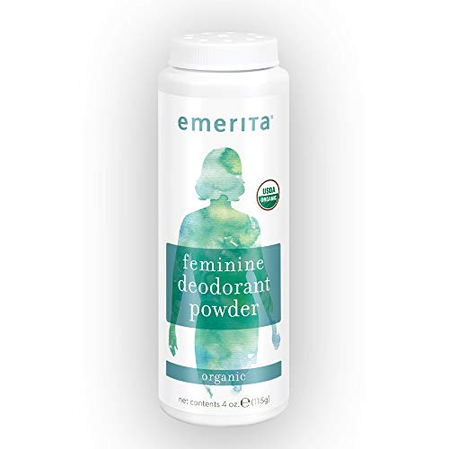 Emerita Feminine Deodorant Powder | Stops Odor & Wetness of Thighs, Vaginal Area, Breasts | Organic & No Talc | 4 oz