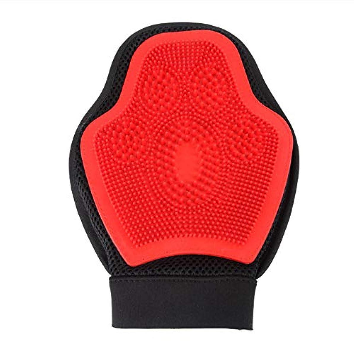 趣味韻腐敗BTXXYJP 手袋 ペット ブラシ グローブ 猫 ブラシ クリーナー 抜け毛取り ブラッシング マッサージブラシ 犬 グローブ ペット毛取りブラシ お手入れ (Color : Red, Size : L)